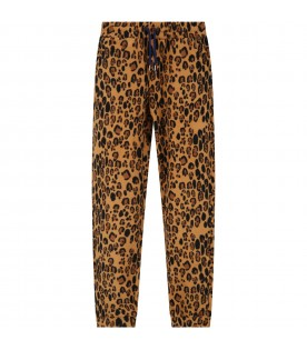 Beige trouser for kids with animalier print