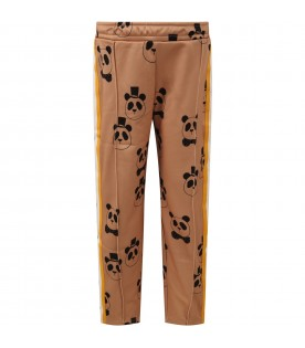 Beige pants for kids with panda