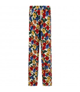 Ivory trouser for girl with colorful violas