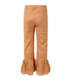 Beige pants for girl with musical note