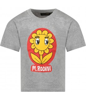 Grey T-shirt for kids with flower