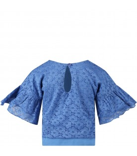 Light blue blouse for girl with musical note