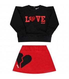 Black and red suit for babygirl with logo
