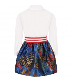 Multicolor dress for girl with flowers