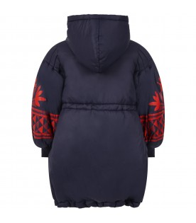 Blue jacket for girl with red prints