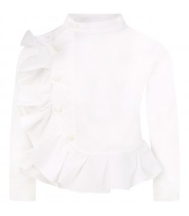 White shirt for girl with ruffles