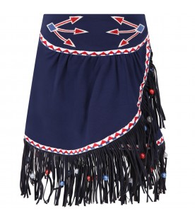 Blue skirt for girl with fringes