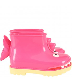 Fuchsia boots for girl with shark