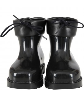 Black boots for girl with logo