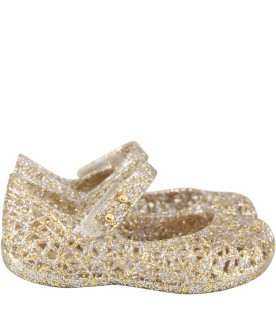 Gold ballerina flats for girl with pearls