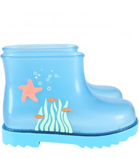 Light blue boots for kids with starfish
