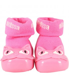 Fuchsia socks shoes for girl with cat