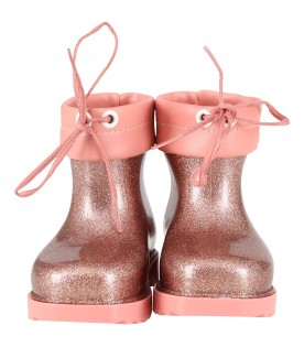 Pink boots for girl with logo
