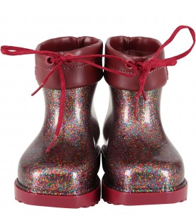 Red boots for girl with logo