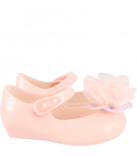 Pink ballerina flats for girl with flower