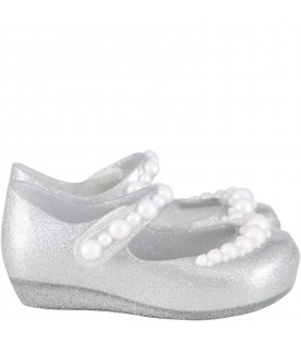 Silver ballerina flats for girl with pearls