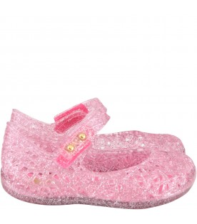 Pink ballerina flats for girl with pearls