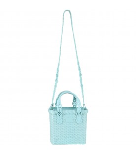 Teal basket bag for girl with logo