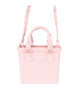 Pink basket bag for girl with logo