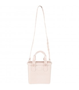 Ivory basket bag for girl with logo