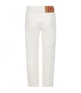 Ivory jeans for boy with logo