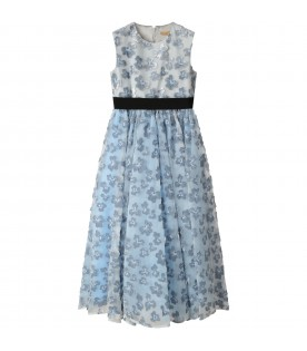Light blue dress for girl with flowers