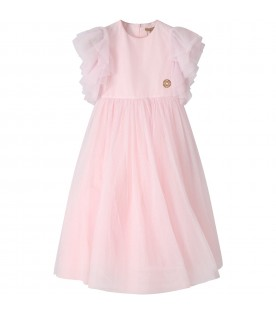 Pink dress for girl with iconic logo