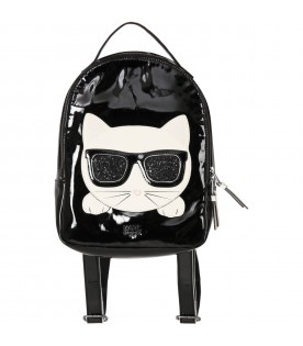 Black backpack with choupette for kids