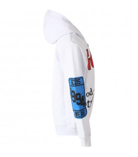 White sweatshirt for boy with red logo