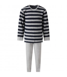 Grey pajamas for boy with stripes