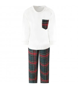 Multicolor pajamas for boy with tartan