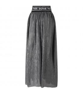 Silver skirt for girl with logos