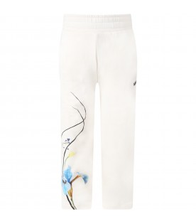 Ivory sweatpants for girl with flowers