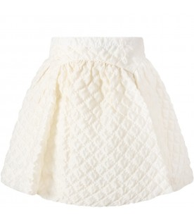 Ivory skirt for girl with logo