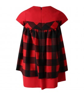 Red dress for girl with checks