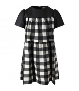 Black dress for girl with checks