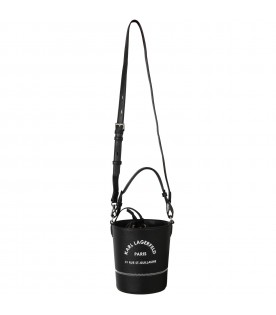Black bucket-shaped bag for kids