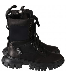 Black boots for kids with logo