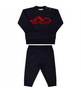Blue suit for babykids with black writing