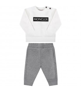White and grey suit for babykids with black writing