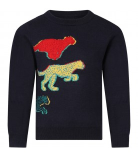 Blue sweater for boy with dinosaurs
