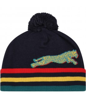 Blue hat for boy with leopards