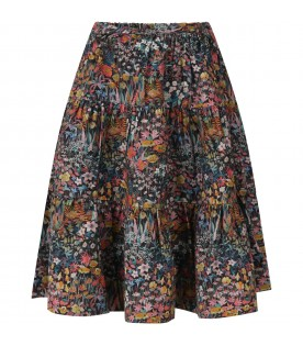 Black skirt for girl with flowers