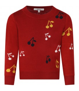 Red sweater for girl with cherries