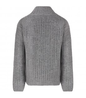 Grey sweater for girl with rhinestones