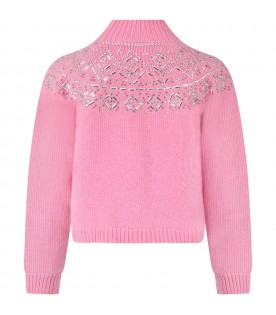 Pink sweater for girl with rhinestones