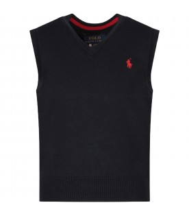Blue gilet for boy with red pony logo