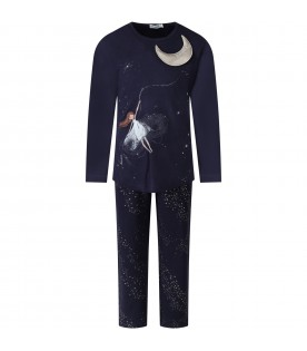 Blue pajamas for girl with dancer