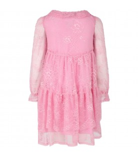 Pink dress for girl with flowers