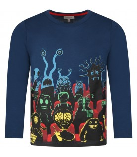 Blue t-shirt for kids with monster
